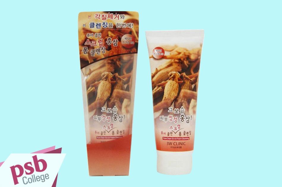 Sữa rửa mặt 3W Clinic Pure Clean Scrub Foam Cleansing Red Ginseng