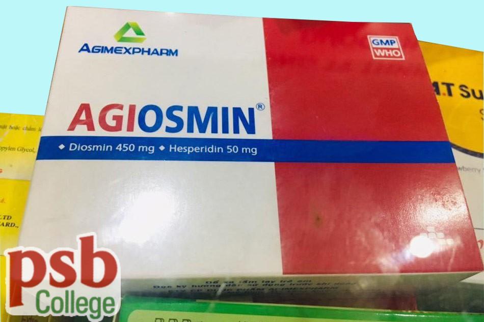 Một góc chụp khác của hộp thuốc Agiosmin 450mg/50mg