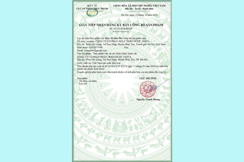 Hạnh Xuân được cấp giấy chứng nhận an toàn thực phẩm của Bộ Y Tế