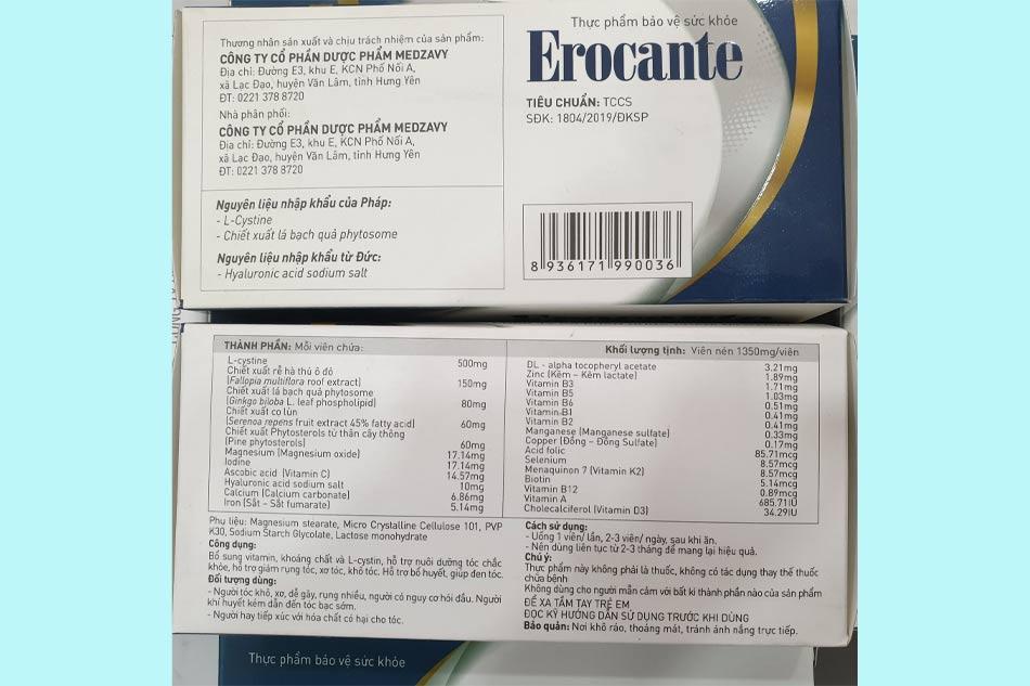 Bảng thành phần của viên uống Erocante