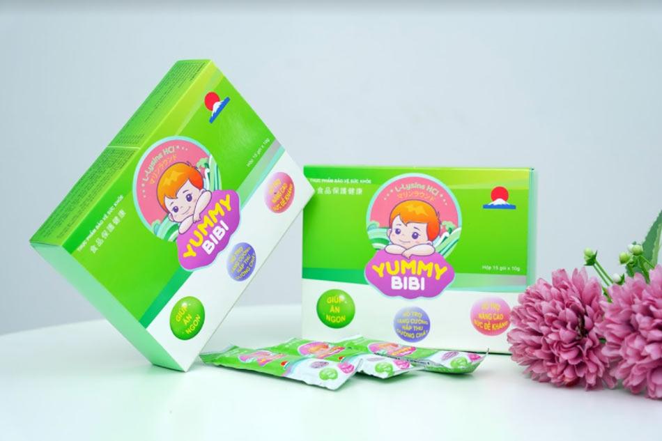 Hình ảnh hộp và gói thạch trong nho Yummy Bibi